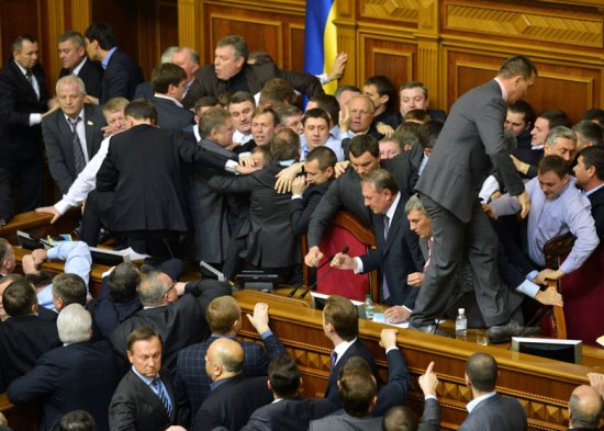 Violence erupts for a second day among deputies to the Ukrainian parliament
